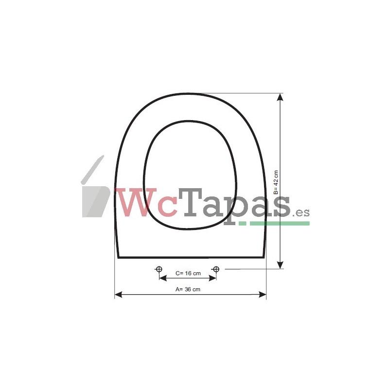 Tapa wc inodoro amortiguada compatible bacara gala for Tapa wc gala universal